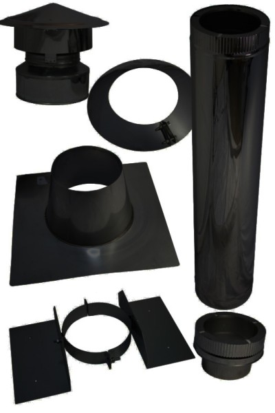 Pelletofen Dachdurchführung für Bitumen Flachdach im Set schwarz