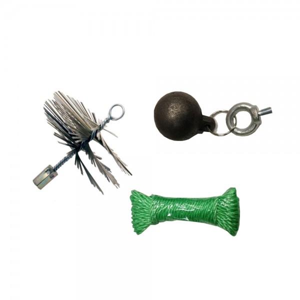 Schornsteinfeger-Set mit Drahtbürste und 1 kg Kugel