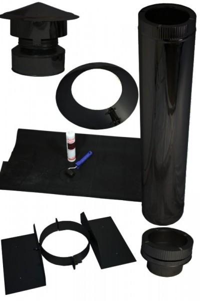 Kamin Dachdurchführung für Schrägdächer mit Kunstoff/EPDM im Set schwarz