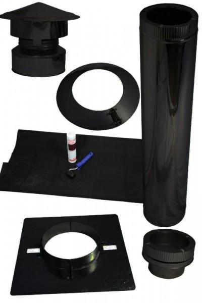 Kamin Dachdurchführung für Flachdach mit Kunstoff/EPDM im Set schwarz
