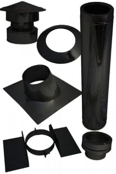 Kamin Dachdurchführung für Bitumen Schrägdach im Set schwarz